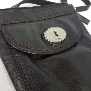 Fossil Black Leather Adjustable Cross Body Purse